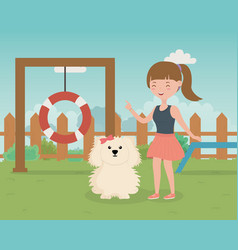 girl and dog in training zone pet care vector image