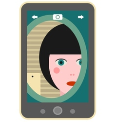 Girl making photo of herself via mobile phone vector
