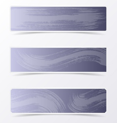 Gray banners with brush strokes vector