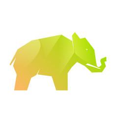 Green gradient elephant on white vector