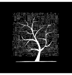 Growing city tree concept Sketch for your design vector