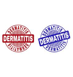 Grunge dermatitis textured round watermarks vector
