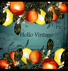 grunge vintage styled background with lemons vector image