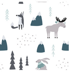 Hand drawn seamless pattern with wild animals new vector