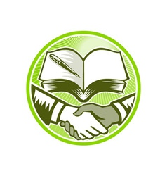 Handshake Book Pen Woodcut Circle vector image