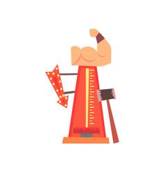 High striker attraction with big hammer arrow vector