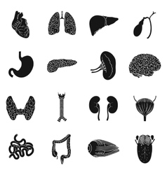 Human organs set icons in black style Big vector image