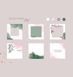 Instagram backgrounds social media stories green vector