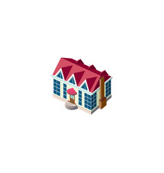 Isometric facade cottage with roof vector