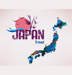 Japan travel map background vector