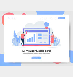 Landing page template computer dashboard vector