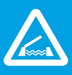 Lifting bridge warning sign icon white vector