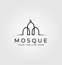 Line art mosque building minimalist logo vector