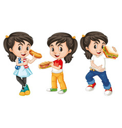 many children with happy face eating fastfood vector image