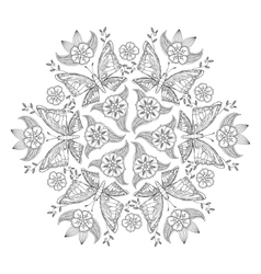 Mehndi mandala with butterflies and flowers vector