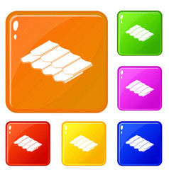 Metal tile icons set color vector