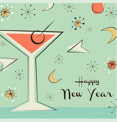 New year card retro mid century party drink vector