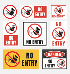 No entry sign set no people allowed labels and vector