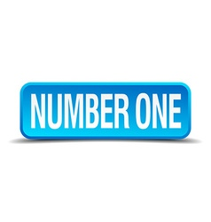 number one blue 3d realistic square isolated vector image