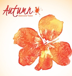 Orange watercolor leaves vector image