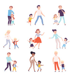parents taking their children to lessons set vector image