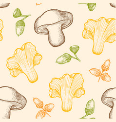 pattern with forest mushrooms and acorns vector image