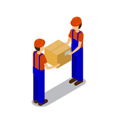 Plant workers transporting products in square box vector