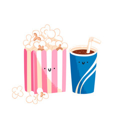 popcorn and soda vector image