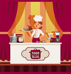 professional chef prepare food in kitchen online vector image