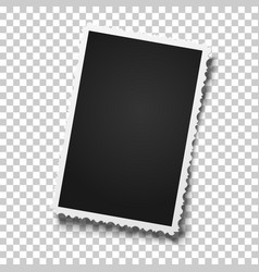 Realistic retro photo frame with figured edges vector