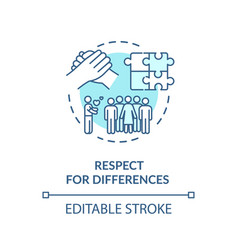 Respect for differences turquoise concept icon vector