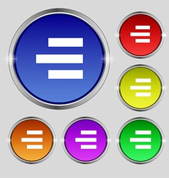 Right-aligned icon sign Round symbol on bright vector