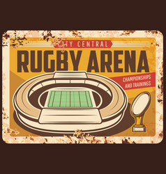 rugby arena stadium rusty metal plate vector image