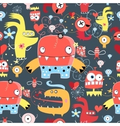Seamless graphic pattern of amusing monsters vector