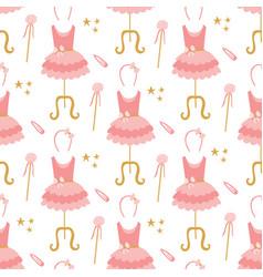 seamless pattern pink ballerina tutu dresses on vector image