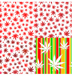 seamless patterns with cannabis leaves red colour vector image