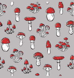 seamless stylized poisonous amanita pattern vector image