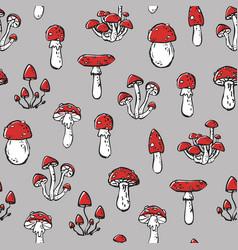 Seamless stylized unhealthy mushrooms print vector