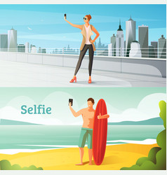 Selfie horizontal set vector