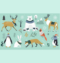 set christmas animals in forest bear fox vector image