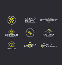 Set of digital money and bitcoin cryptocurrency vector