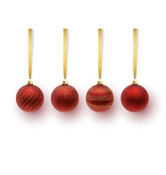 set of red christmas ball with an ornament vector image