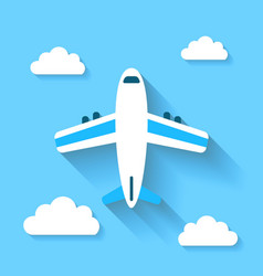 Simple icons plane and clouds with long shadows vector
