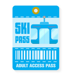 Ski pass template with shadow flat style vector