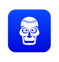 skull icon digital blue vector image