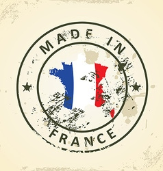 Stamp with map flag of France vector image