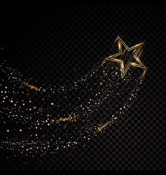 Star sparkle golden frame isolated on black vector