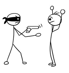 Stickman cartoon of two man during armed robbery vector