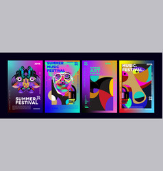 Summer colorful art and music festival poster vector
