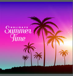 summer time beach scene with palm trees vector image